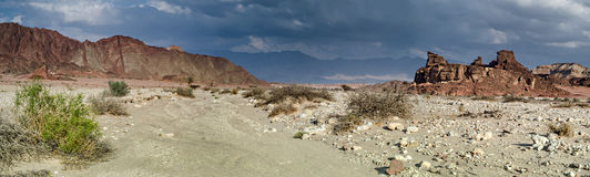 Geological formations and desert valley of Timna park, Israel Royalty Free Stock Photography