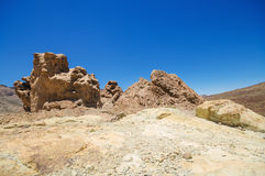 Geological formations, famous volcanic landscape in Teide National Park, Tenerife, Canary islands, Spain. Royalty Free Stock Image
