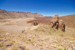 Geological formations, famous volcanic landscape in Teide National Park, Tenerife, Canary islands, Spain. Royalty Free Stock Photography