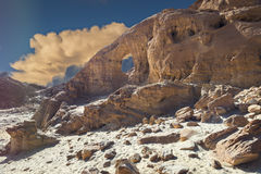 Geological formations in nature desert park of Timna, Israel Royalty Free Stock Photo