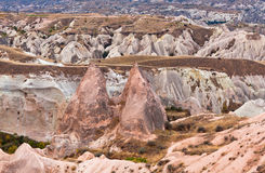 Geological formations in Red valley, Cappadocia, Turkey Royalty Free Stock Images