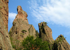 Geological formations of rock towers Royalty Free Stock Photo