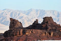 Geological formations at Timna park, Israel Royalty Free Stock Photography