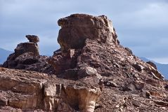 Geological formations at Timna park, Israel Royalty Free Stock Photo