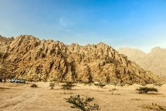 Geological landscape of Saudi Arabia Mountains Characterised by Dry and Rocky Mountains of Wadi Gin, Saudi Arabia. Rugged mountains royalty free stock photo