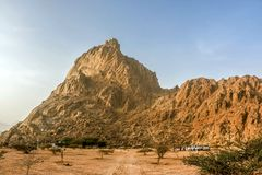 Geological landscape of Saudi Arabia Mountains Characterised by Dry and Rocky Mountains of Wadi Gin, Saudi Arabia. Rugged mountains royalty free stock photos