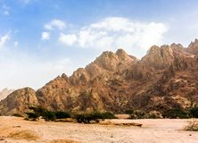 Geological landscape of Saudi Arabia Mountains Characterised by Dry and Rocky Mountains of Wadi Gin, Saudi Arabia. Rugged mountains stock photography