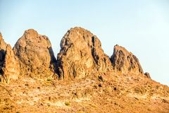 Geological landscape of Saudi Arabia Mountains Characterised by Dry and Rocky Mountains of Wadi Gin, Saudi Arabia. Rugged mountains stock image