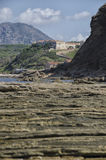 Geological layers on the Italian coast Stock Images