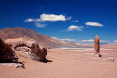 Geological monolith close to Salar Aguas Calientes Stock Photo