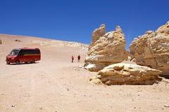 Geological monolity blisko do Salar Tara, Chile fotografia royalty free