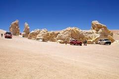 Geological monolity blisko do Salar Tara, Chile zdjęcie stock