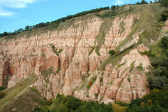 Geological reserve. Ravine. Geological reserve. The ravine of Rapa Rosie, Romania Royalty Free Stock Images