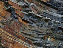 Geological rock layers. Mountain wall in Norway Stock Photo