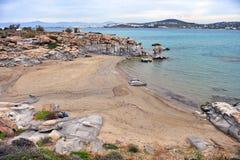 Geological stones formation on Kolymbithres beach, Paros island royalty free stock photos