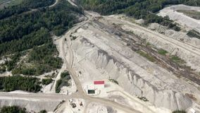 Geological structure of the quarry of an alluvial deposit for mining
