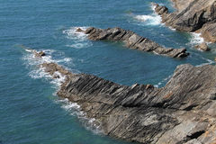 Geological study of cliffs, pembrokeshire, wales. Stock Photo