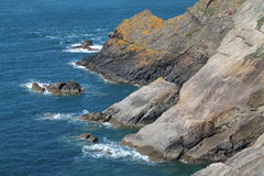 Geological study of cliffs, pembrokeshire, wales. Royalty Free Stock Photography