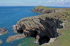 Geological study of cliffs, pembrokeshire, wales. Stock Image
