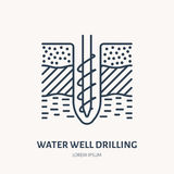 Geological survey, engineering vector flat line icon. Geodesy equipment. Geology research illustration. Water well Stock Images