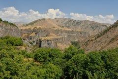 Geological `Symphony of the Stones` Garni, Armenia. `Symphony of the Stones` geological rock formation basalt columns in the gorge near Garni, Armenia royalty free stock photo