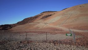 Geological tests on the volcano. Volcanic fenced area for seismic testing. Fullhd stock footage