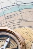 Geologisch kaart en kompas Royalty-vrije Stock Foto