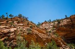 Geologische Bildungen des Sandsteins in Zion National Park, Utah, USA Stockfotografie
