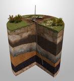 Geologische exploratie van olie en gasproductie Stock Afbeelding