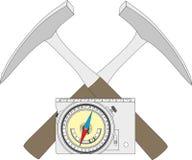 Geologischer Kompass, geologischer Hammer und ein Santendiagramm Lizenzfreie Stockfotos