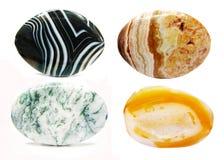 Geologisk crystal collage för agatjaspiskarneol Arkivfoton