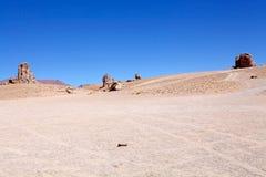 Geologiska monoliter nästan Salar Taraen, Chile arkivbild