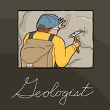 Geologist Collecting Samples Illustration Stock Images