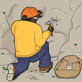 Geologist Using Rock Hammer Royalty Free Stock Images