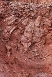 Geology. Folded red limestones in the mountain Royalty Free Stock Image