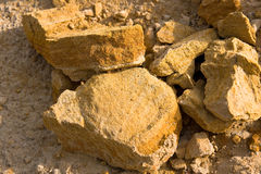Geology. A layer pieces of stones from sand at geological site Stock Photography