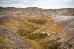 Geology Rock Formations Badlands National Park South Dakota Stock Photos
