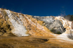 Geology of thermal hot springs at Mammoth Yellowstone Stock Photo