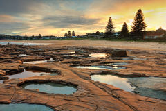 Geology Unusual teal rockpools at  North Avoca Stock Photos