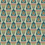 Geométrico étnico colorido y estampado de flores en diseño único stock de ilustración