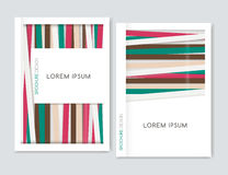 Geométrico abstracto Diseño de la cubierta para el aviador del prospecto del folleto Brown, verde, líneas diagonales rosadas Tama Fotos de archivo libres de regalías