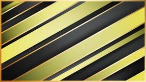 Geométrico abstracto Oro y líneas diagonales que brillan intensamente negras Pendientes suaves y sombras ilustración del vector