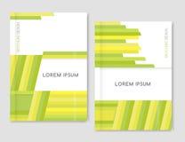 Geométrico abstrato Projeto da tampa para o inseto do folheto do folheto Amarelo, verde, luz - linhas diagonais verdes Tamanho A4 Foto de Stock