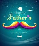 Geométrico colorido de padres del bigote feliz del día ilustración del vector