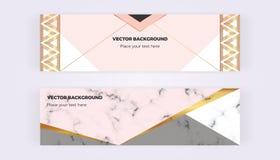 Geométrico con las banderas del web de los triángulos Diseños modernos del lujo y de la moda con la textura de mármol Plantilla h stock de ilustración