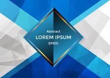 Geométrico e azul abstratos com o backgro do triângulo e do polígono Imagens de Stock Royalty Free
