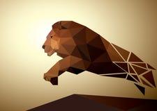 Geométrico poligonal del león, diseño del modelo Imágenes de archivo libres de regalías