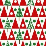 Geomet sem emenda do inverno das árvores de Natal do teste padrão do Natal do vetor Fotos de Stock Royalty Free