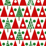 Geomet senza cuciture di inverno degli alberi di Natale del modello di natale di vettore Fotografie Stock Libere da Diritti
