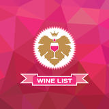 Geometirc Background and Badge with the Grape Leaf and Glass of Wine Royalty Free Stock Images